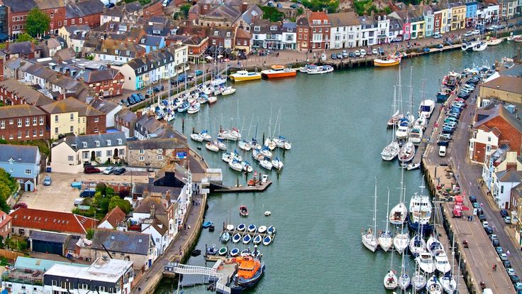 Aerial view of Weymouth Old Harbour Dorset UK