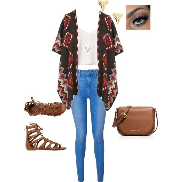 cute first day of school outfit! by monetcollins on Polyvore featuring polyvore fashion style Topshop Paige Denim O'Neill MICHAEL Michael Kors ki-ele Wanderlust + Co
