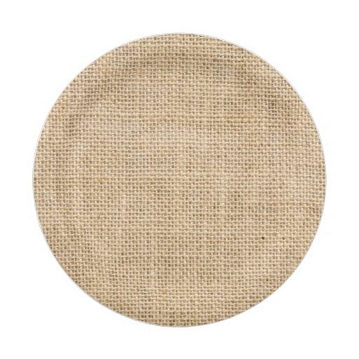 Rustic Burlap Custom Party Paper Plates. Burlap paper plates are available in a few sizes great for an outdoor rustic wedding reception, birthday party, family reunion, BBQ and more. Add text or a monogram to personalize these plates.