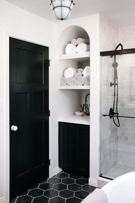 black and white bathroom gorgeous hexagonal tile and arched storage options