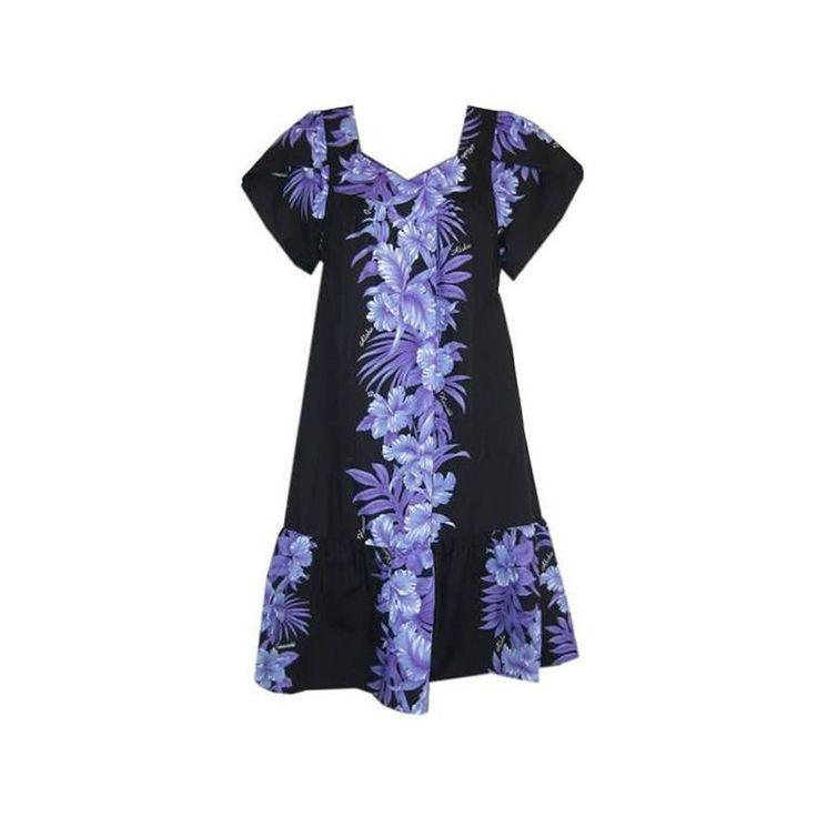 Kahuna Black Traditional Cotton Blend Hawaiian Muumuu Dress - PapayaSun