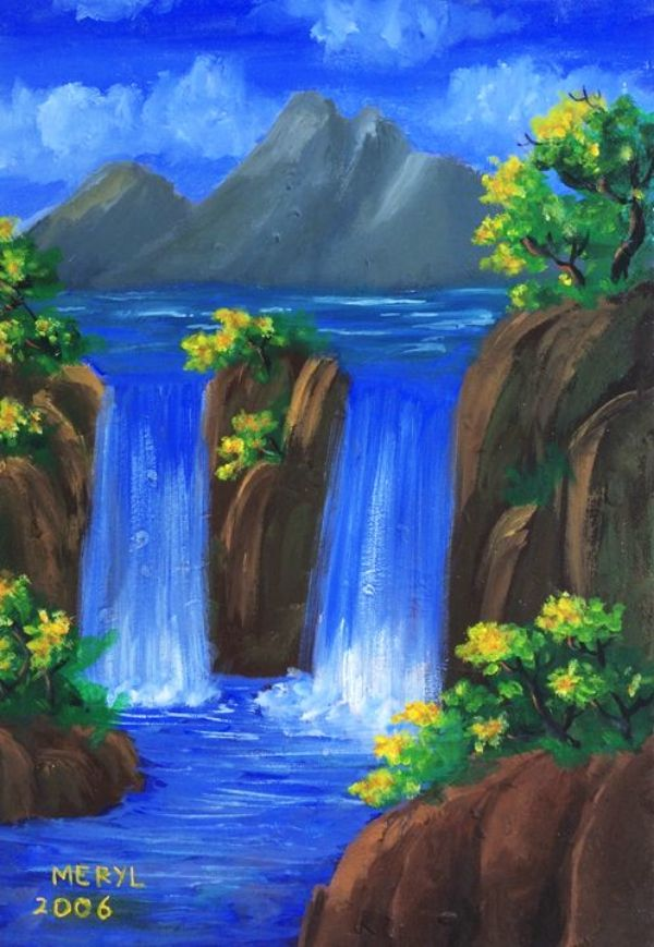 65 Simple And Beautiful Acrylic Painting Ideas For Beginners Hercottage Nature Paintings Acrylic Waterfall Paintings Nature Art Painting