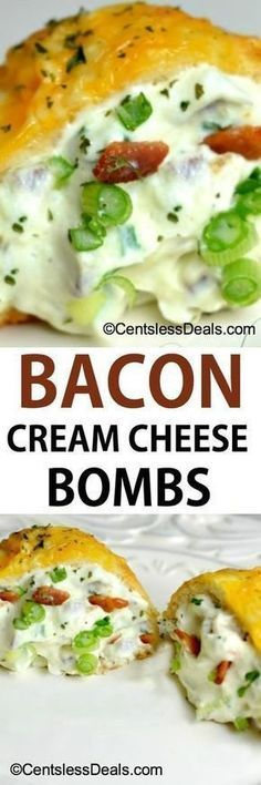 Bacon Cream Cheese Bombs recipe Ingredients  1 can of refrigerated biscuits8 oz cream cheese softened8 oz bacon cooked and crumbled1/4 cup of chopped green onion1/4 cup grated parmesan cheese1/4 cup grated cheddar cheese1 tsp garlic salt
