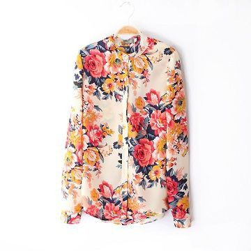 Aliexpress.com : Buy Women's Spring and Autumn new European style long sleeved flowers print chiffon shirt blouse 2013 fashion from Reliable Blouses suppliers on jolie's store