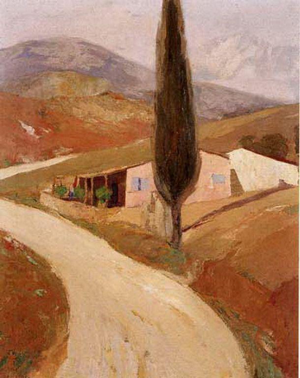 .:. Οικονόμου Μιχαήλ – Michail Oikonomou [1888-1933] Τοπίο με κυπαρίσσι