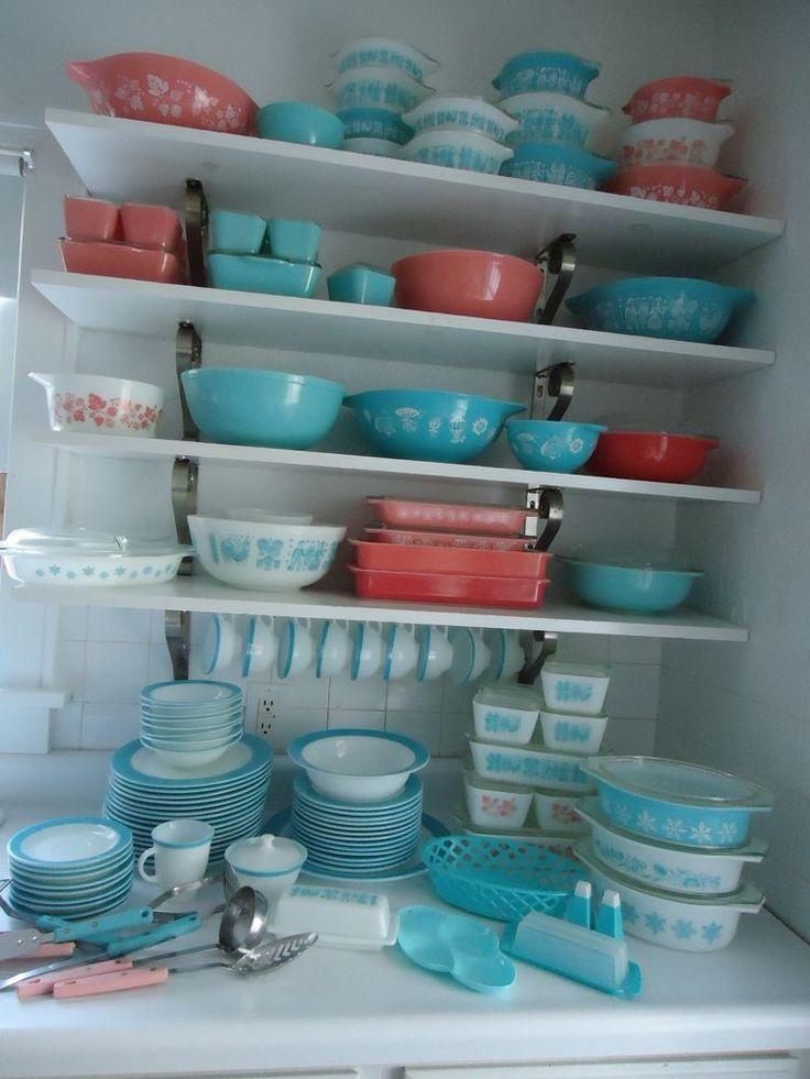 Vintage Pyrex Butterprint Amish Butter DishTurquoise /Creamer/Sugar Bowl - Mint #Pyrex