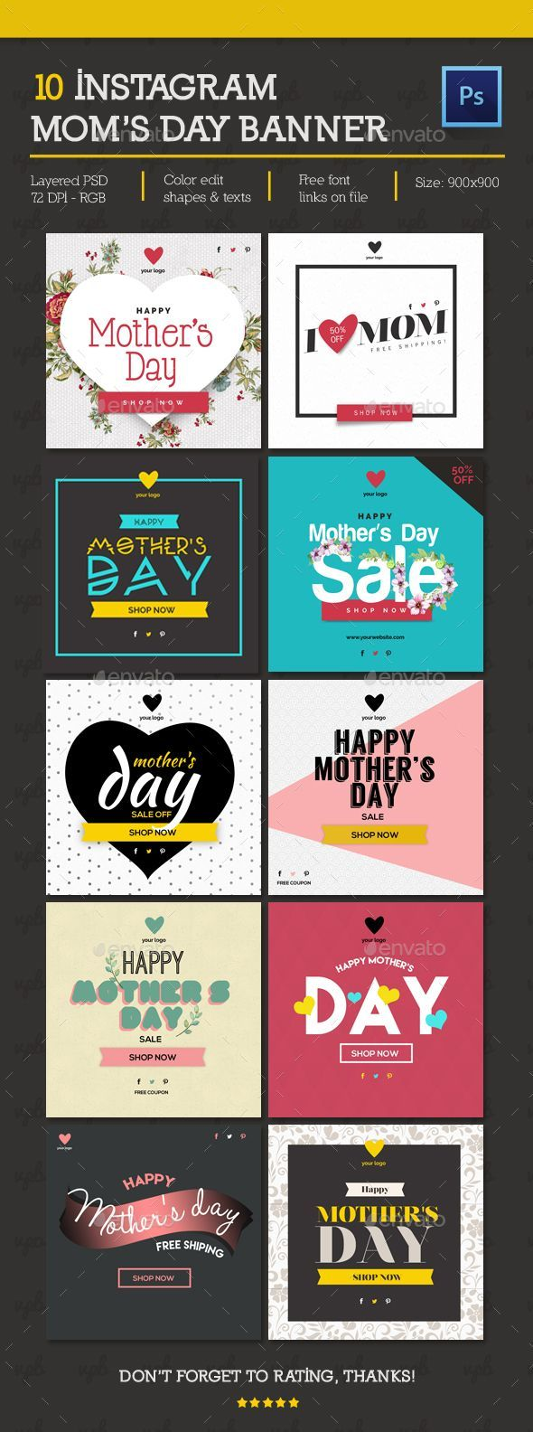 Instagram Banners Template PSD. Download here: http://graphicriver.net/item/banner-instagram/15913952?ref=ksioks