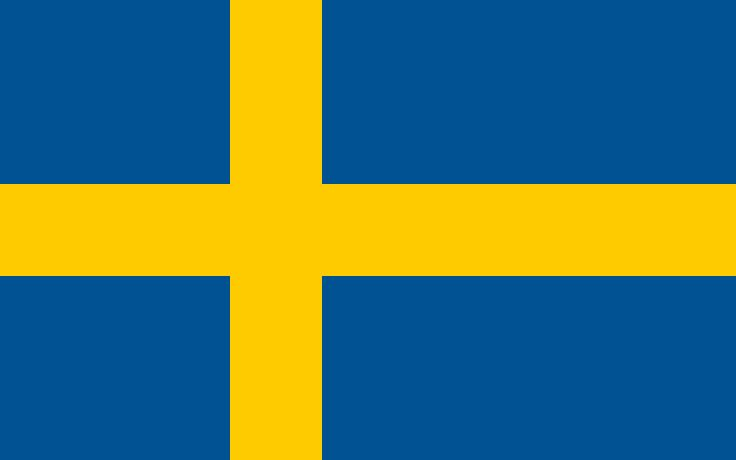 The flag of Sweden was officially adopted on June 22, 1906.     The off-centered yellow cross (The Scandinavian Cross) is taken from the Danish flag. The yellow and blue colors are taken from the national coat of arms.