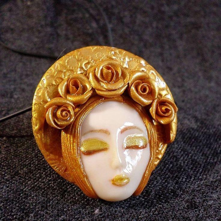 Golden Moon Queen pendant or brooch available in my shop.  #witchesofinstagram #keepsake #goddessart #witchythings #artistofinstagram #crystaljewelry #meaningfuljewelry #bohojewelry #gemstones #minerals #wearableart #etsyjewelry #artisanjewelry #artisan #handsculpted #naturespirit #clayart #fairyjewelry #statementjewelry #naturejewelry #spiritualart #artjewelry #goddessjewelry #festivalstyle #festivaljewelry #bohojewellery #bohovibes #zbesties #moongoddess #moonpendant
