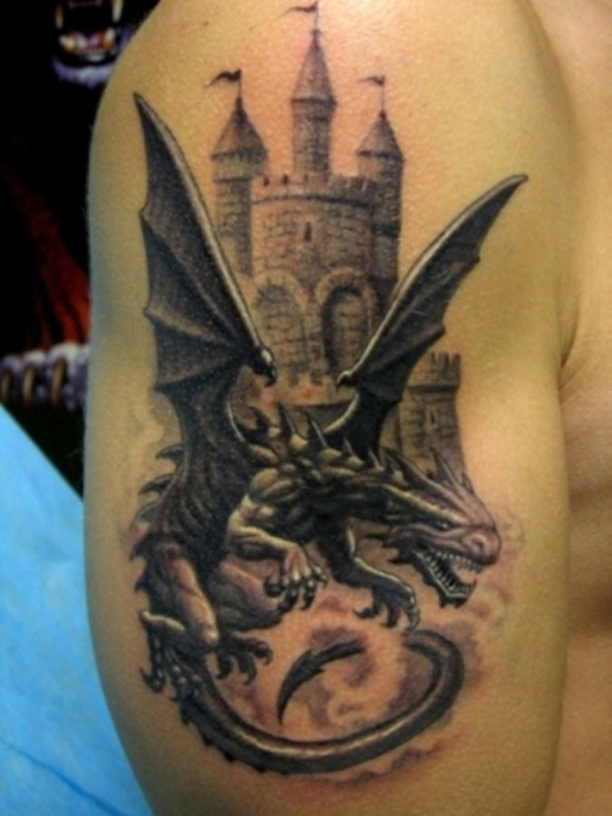 707 best images about tattoos on pinterest for Medieval dragon tattoo