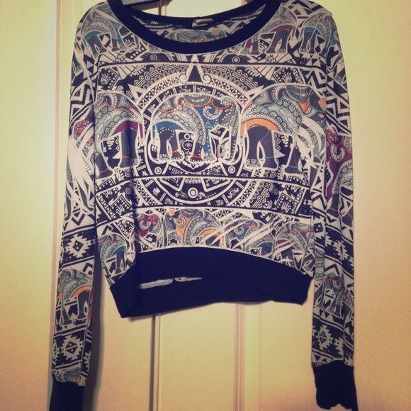 Elephant Indie Printed Long Sleeve Top Only worn one time for a dinner. Multi-colored printing with some beads (jewels). Blush Tops Tees - Long Sleeve