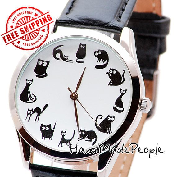 Cute Cats Wrist Watch Watch for Cats Lovers by HandMadePeople