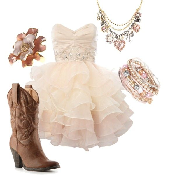 "This has ""southern belle"" written all over it- ruffles, pearls, and boots."