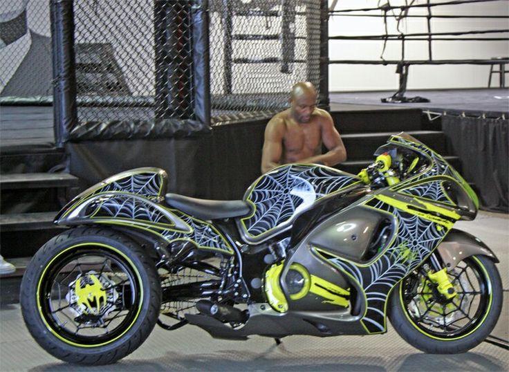Ultimate Fighting Champion Anderson The Spider Silva With His Custom Voodoo  Industries 2008 Suzuki Hayabusa