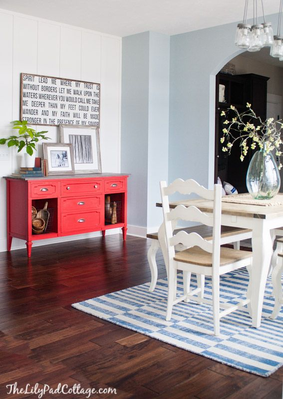 Red painted Buffet - like the red with the gray top, light blue walls, white trim