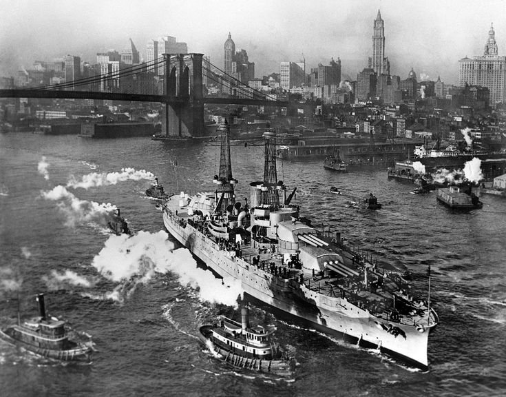 USS Arizona (BB-39) arrives in New York in 1916. She was lost in Pearl Harbor on December 7, 1941.