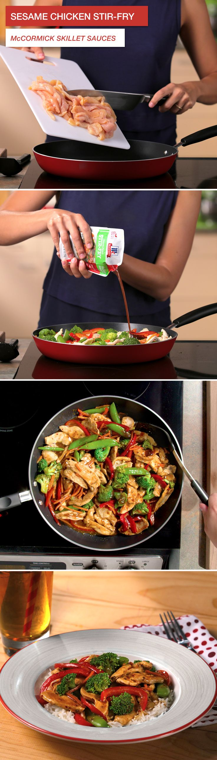 In need of dinner inspiration? This Sesame Chicken Stir Fry is ready in only 15 minutes with McCormick Skillet Sauces. They're full of natural spices—and free of MSG and artificial flavors—because pure tastes better. Click through for recipe details!