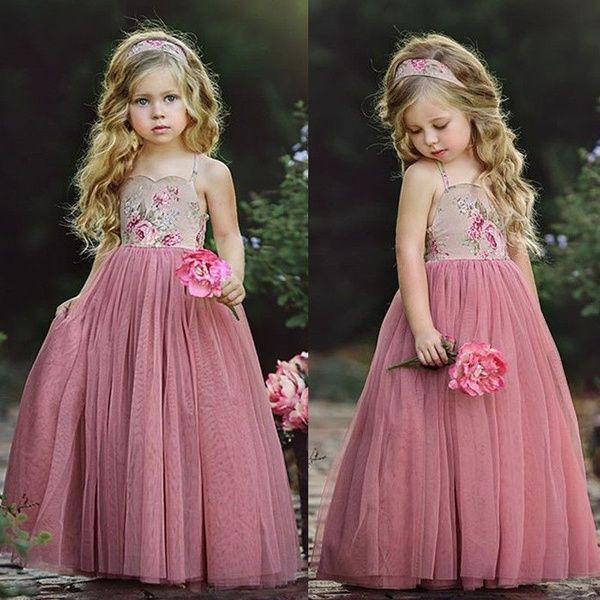 Girl Lace Flower Dress Maxi Long Ball Gown Wedding Bridesmaid Princess Dress New