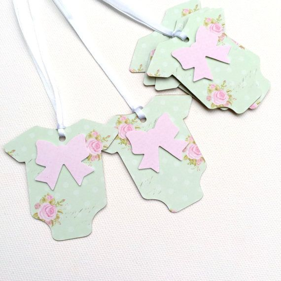 Pretty Pink and Green baby shower Gift Tags. Floral, Shabby Rose, Cottage Chic. Onesie Baby-romper, onepiece shape. Baby girl, gender reveal. Brown kraft.Pretty Pink and Green baby shower Gift Tags. by MyPaperPlanet
