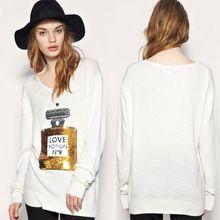 Novo Perfume Bottle impresso camisola em torno do pescoço de lantejoulas Malhas Malha Bordado Sweater Top(China (Mainland))