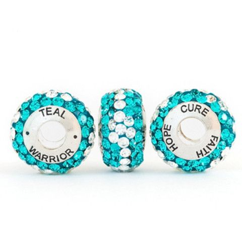 "Beads for a Cause | Tough as Teal Collection 'Teal Warrior' Bead | ""We believe in a fighting chance for women & their families battling ovarian cancer. Also known as ""the silent killer"", less than 20% of all cases are diagnosed at the most treatable stages because we lack early detection. Please help us support ovarian cancer research, an early detection solution, symptom awareness, and important patient programs."" :: #TopToBottom #WearTeal #belabumbum"