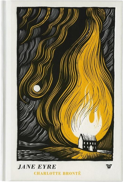 JANE EYRE BOOK COVER LINO CUT JOE MCCLAREN ILLUSTRATION WHITES BOOKS DAVID PEARSON