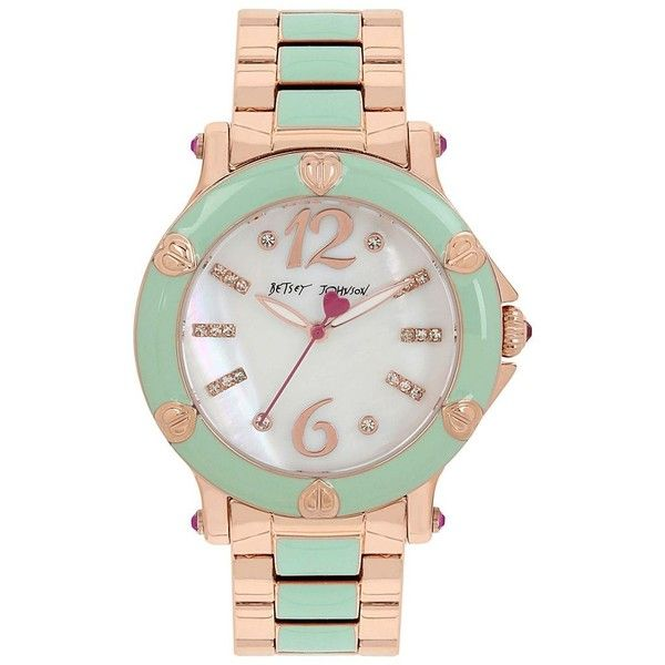 Betsey Johnson Blissful Mint Enamel Watch (395 BRL) ❤ liked on Polyvore featuring jewelry, watches, mint green, mint green jewelry, mint jewelry, mint watches, betsey johnson jewelry and bracelet watch