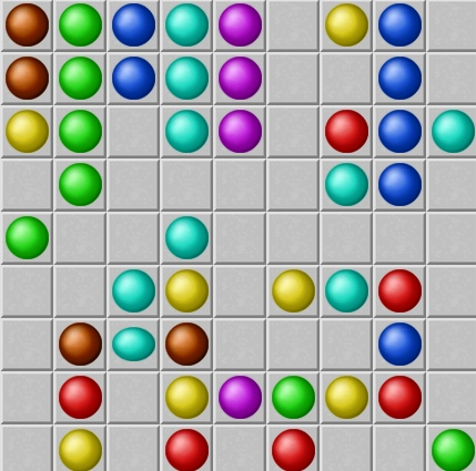 Colored Lines Click A Ball Then Click An Empty Square To