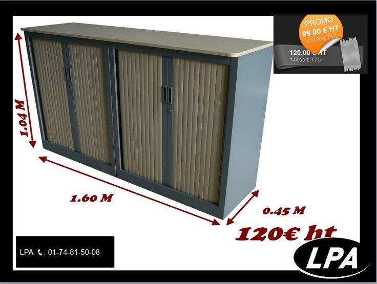 Lot deux armoires métalliques basses ARFEO  munis d'un grand top bois  Hauteur : 1.04 M Largeur : 1.60 M Matériaux : métal/bois/pvc Couleur : gris alu / érables Quantité : 80