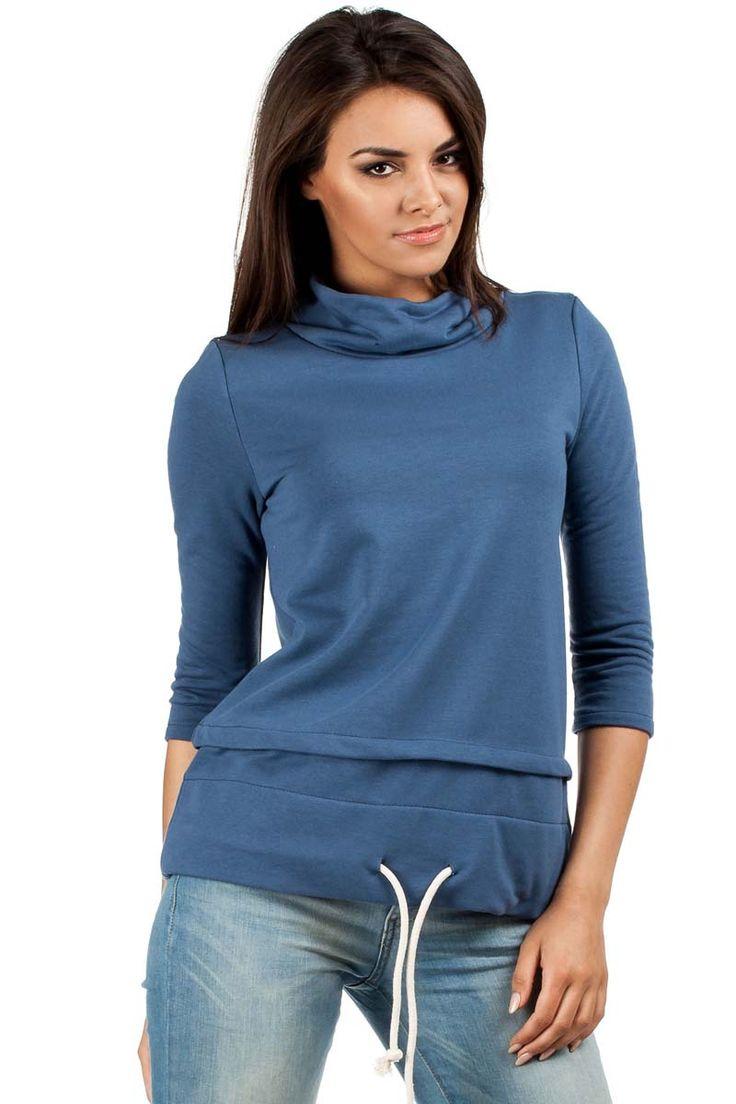 Niebieska bluza damska z rękawem za łokieć