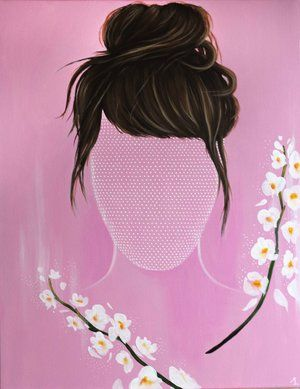 Pink woman pop art portrait painting with white flowers on canvas. «Rosalie» by Mélissande Lauzon artist. Acrylic on canvas, 22'' x 28'', 500$ CAN. #painting #portrait