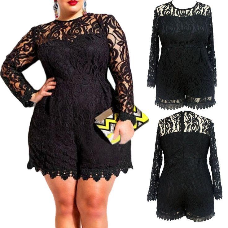 5X Plus Size Women Long Sleeve Lace Evening Party Playsuit Short Jumpsuit Romper #Adogirl #Romper