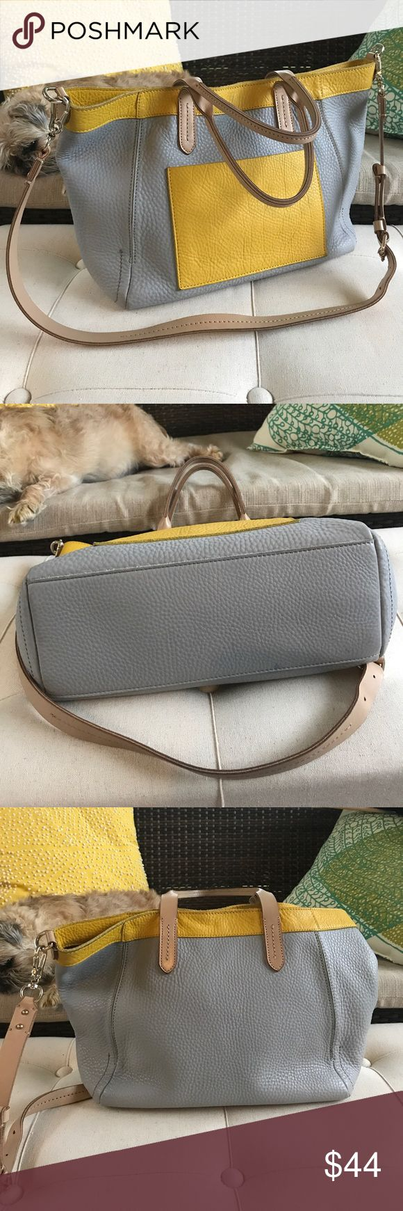 """Cole Haan Tote or Crossbody Leather Bag Cole Haan leather tote in gray and yellow gold is nice for work or play. Leather is a soft pebble. Gold hardware. 16""""W x 9.5H x 4.5""""D. Magnetic closure and outside pocket. Sample Sale, hence the writing inside. Great for summer and into fall! (Sorry to mention fall right now.) Quality Cole Haan. I have been trying to take pics when the dog decided she needed that space! Cole Haan Bags Totes"""
