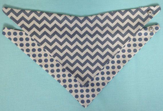Reversible bandana bib with chevron / dot by PrettyBabyThings, $12.95