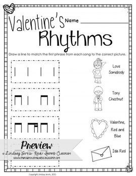 This set of worksheets is designed help your students practice known rhythmic and melodic concepts within Valentine's themed songs. These would be fun to use in a lesson the week of or leading up to Valentine's Day, but can also be used year round. Very easy to leave with a sub. #musiceducation #musedchat #elemused #kodaly #musictheory
