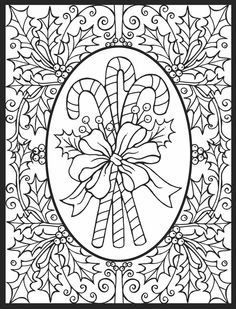 American Hippie Art Adult Coloring Pages Christmas Candy Canes