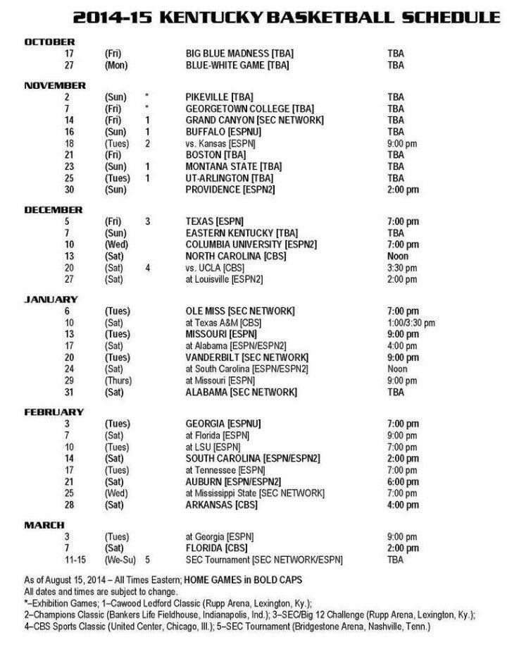 2014-15 Kentucky Basketball Schedule