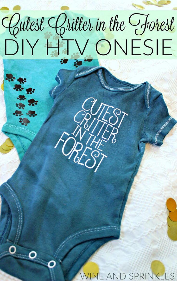 Diy htv cutest critter in the forest baby onesie wine