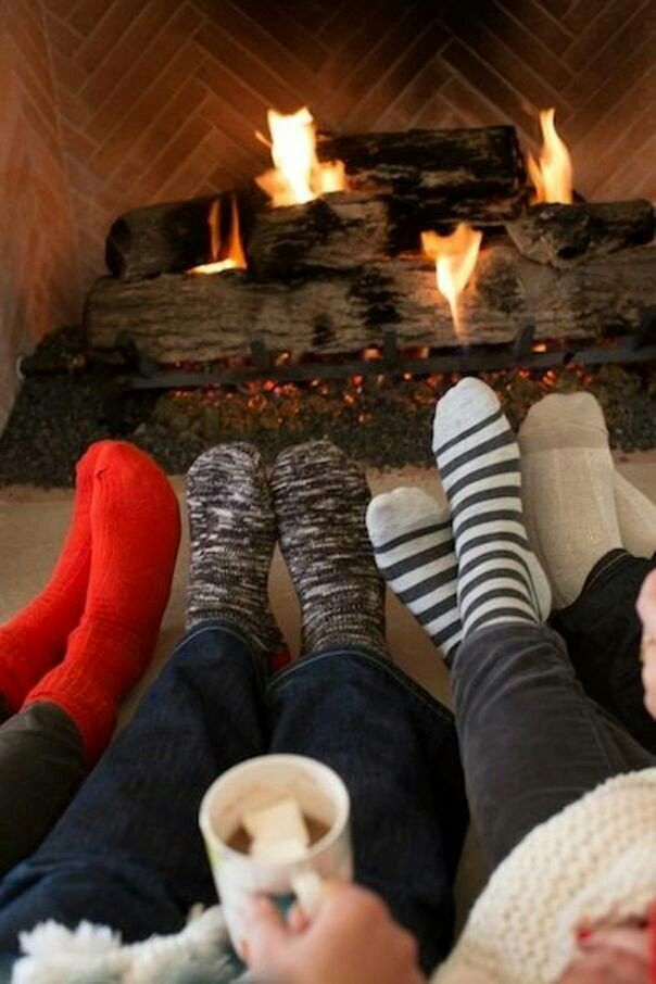 Us girls sit by the fire after a long day, or in Christmas Day