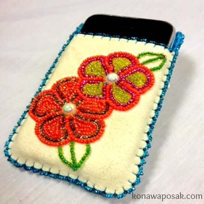 White Leather hand beaded Native Cell phone case