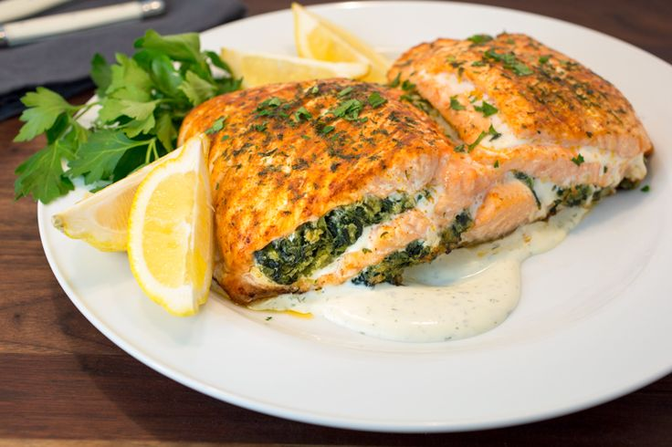 Recipe: Salmon Stuffed with Creamed Spinach from Nassau Street Seafood – Jersey Bites