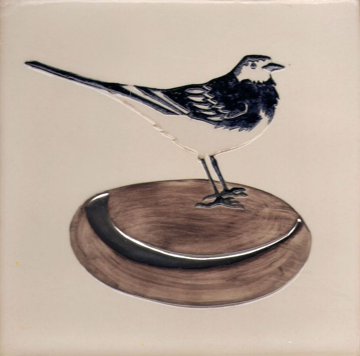 15 x 15 cm ceramic tile. Pied Wagtail.