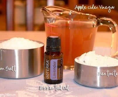 Detox Bath:•2 cups Epsom Salt - draws out toxins from your body  •1 cup Apple Cider Vinegar - neutralizes the body's pH.  •1/2 cup Bentonite Clay - stimulates the lymphatic system •5-10 drops Essential Oil - lavender, geranium, sandalwood, ylang ylang and blue tansy, known for detoxifying ~ Soak 20-40 minutes. Drink a large glass of water and go to bed.