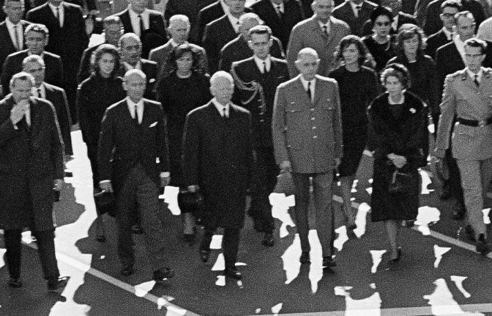 1963-11-25: Joan Kennedy, Ethel Kennedy, Lee Radziwill and Jean Kennedy Smith march in JFK's funeral.