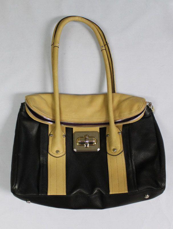 B Makowsky Satchel Bag Stunning Black and Tan by EmmaLousResalePlace on Etsy