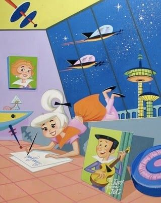 The Jetsons - popular American cartoon originally airing in the height of the Space Age (1962). Set in the future (2062) the design uses geometric shapes and muted colour palettes.