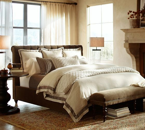 Linen with Silk Trim Duvet Cover, Full/Queen, Brownstone
