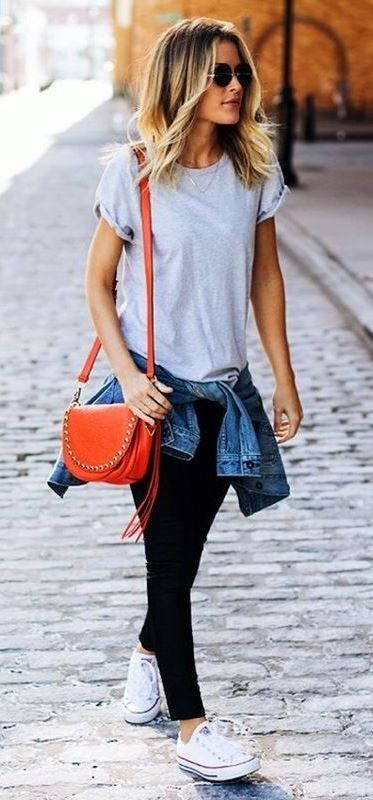 what to wear with a red bag : converse + denim jacket + black skinnies + t-shirt