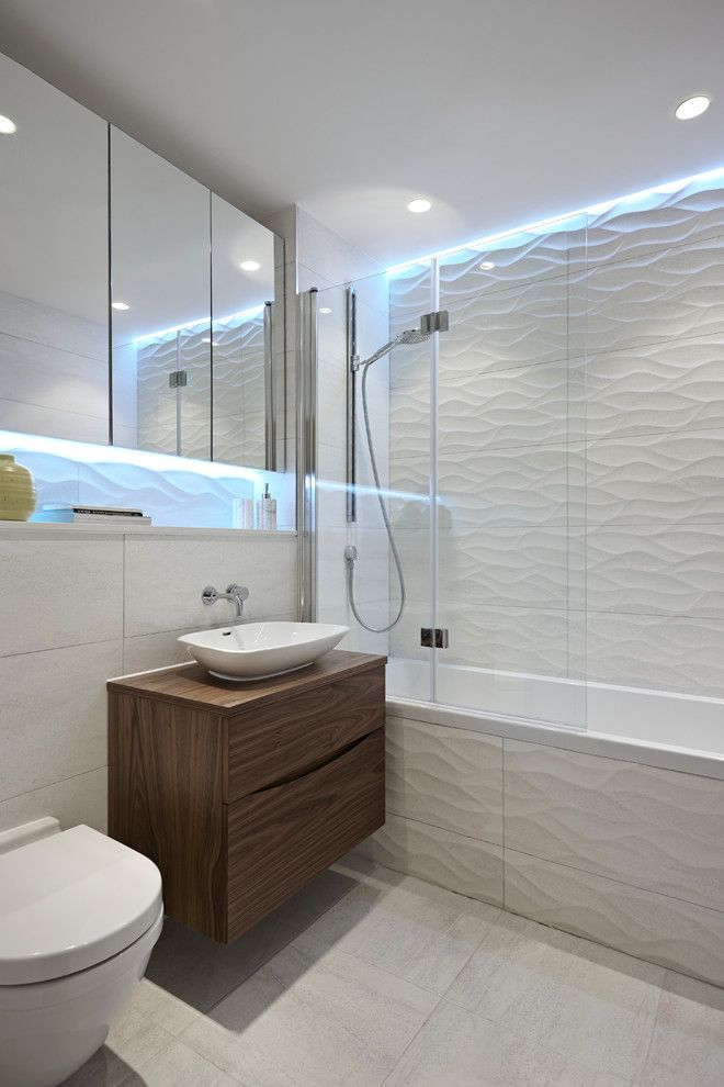 Contemporary Tile Shower Wall recessed wall shelf