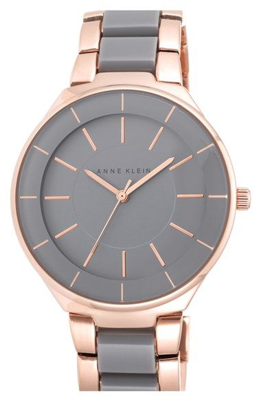 Anne Klein Round Two-Tone Bracelet Watch, 39mm available at #Nordstrom
